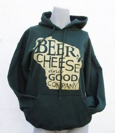 Beer, Cheese and Good Company Sweatshirt Hoodie in Green and Gold