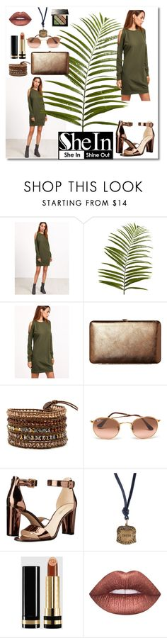 """""""SheIn/ Olive Green Sweatshirt Dress"""" by neesyrn ❤ liked on Polyvore featuring Michael Kors, Pier 1 Imports, TravelSmith, Ray-Ban, Nine West, Catherine Michiels, Gucci, Lime Crime and Burberry"""