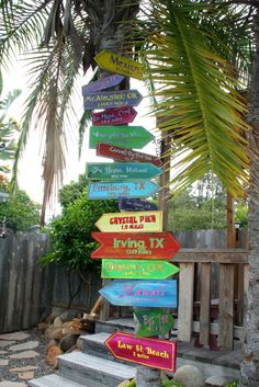 My latest project for our little beach bungalow (which is our only residence).  Signs pointing the way and giving the distance to places that have a special place in our lives.  Birth places, where we were married, where parents live or are buried, our favorite places we've visited, and one we really want to visit someday.  Personalizing our home!