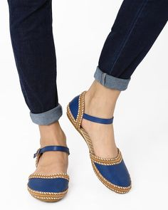 Buy BLUE AJIO Flat Shoes with Laser-Cut Perforations   AJIO