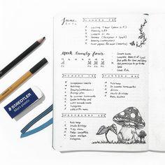 Bullet Journal - Décorations : j'adore la façon dont sont dessinés les champignons !  http://itslahe.tumblr.com/post/145980766667