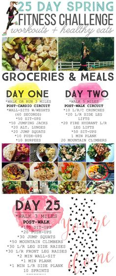 25 DAY SPRING FITNES CHALLENGE WITH DAILY WORKOUTS AND MEAL PLAN IDEAS!