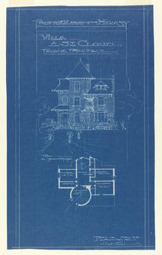 Blueprint, Villa of M. Hemsy, St. Cloud, Facade Principale, 1913