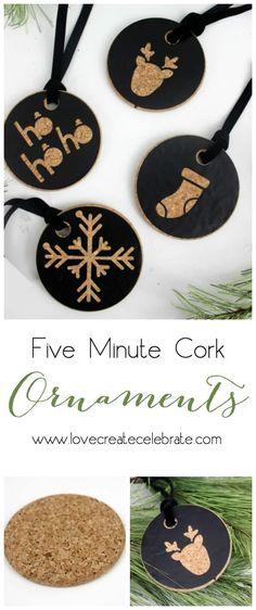 Easy Cork Christmas Ornaments - Love Create Celebrate