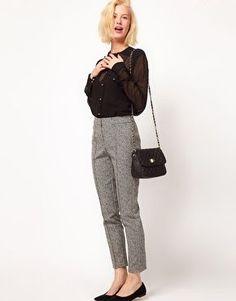 ASOS Super Skinny Trousers In Herringbone Print