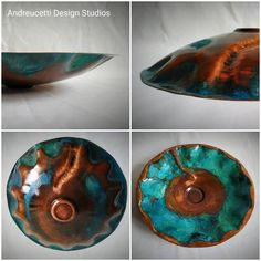 Hand made Copper bowl with blue/green patination, all salvaged material, exhibition entry 2020 by Irish Artist and designer Richard Andreucetti (c) Copper Decor, Irish Art, Organic Form, Metal Fabrication, Metal Crafts, Metal Working, Blue Green, Concept, Loewe