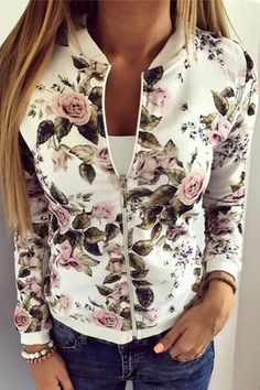 Fashion Baseball Collar Bomber Jacket In Random Floral Print ==