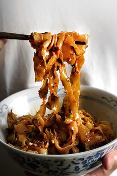 Sichuan Chili Noodles with Crispy Shallot Chicken Skin Crack and Fried Garlic