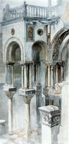 """John Ruskin, """"Pierres de Venise"""". Coté sud de l'église Saint Marc. 1851"""