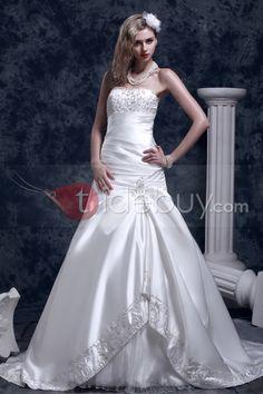 素敵バストヘムストラップレスピックアップ刺繍ダーシャウェディングドレス