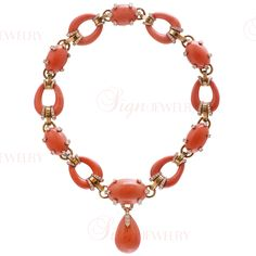 DAVID WEBB Estate 18k Gold Diamond & Natural Coral Necklace - The combination of the pave diamond gold prongs and links and the peachy orange coral is absolutely a-m-a-z-i-n-g!