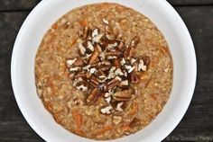 Clean Eating Carrot Cake Oatmeal Ingredients: 2/3 cup steel-cut oats (dry) 1-2/3 cups milk of choice (if cooking in a rice cooker) or 2 cups (if cooking in a pot) 1/2 cup shredded carrots 1 teaspoon vanilla extract 1 teaspoon ground cinnamon 1/2 teaspoon nutmeg Directions: Bring milk, vanilla extract, carrots, nutmeg and cinnamon to a boil. Add oats. Toppings: Chopped walnuts or pecans Toasted, sweetened coconut flakes Raisins