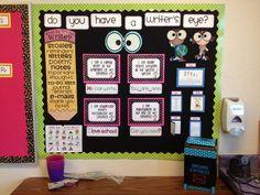 Writing bulletin board. Cute!!