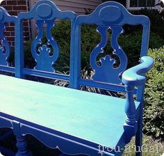 Make a Bench from Chairs {trash to treasure} This is the perfect solution for repurposing old chairs. This tutorial will show you how to make an outdoor bench… Furniture Projects, Furniture Makeover, Wood Projects, Diy Furniture, Modern Furniture, Furniture Design, Repurposed Furniture, Painted Furniture, Making A Bench