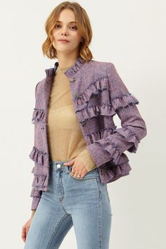 Lena Ruffle Layered Jacket Discover the latest fashion trends online at storets.com