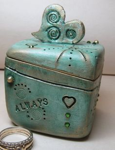 Engagement/Anniversary Ring Box by clayscenes on Etsy, $40.00