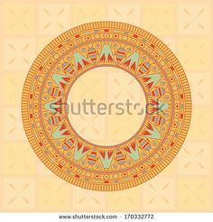 Circle ornament. Round frame, rosette of ancient elements. Egyptian national antique round pattern, vector, eps10. - stock vector