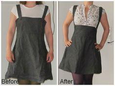 Suspender dress refashion. Saga i farver: Kjole til nederdel med seler