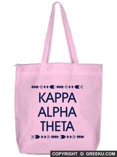 Sorority Arrow Top Bottom Tote Bag | Customize the bag with your sorority name and change the bag and ink colors (shown in Kappa Alpha Theta). Minimum is 12 bags! Group pricing available. Check it out!! http://www.greeku.com/sorority/merchandise/bags/tote-bags/arrow-top-bottom-tote-bag/