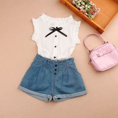 Baby Short Sleeve Blouse New summer 2018 Chiffon White Blouse Teenage School Girl Black Bow Shirts Clothes for Girls 10 12 Years