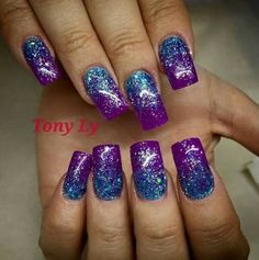 Best Wedding Nails Purple Glitter Blue 54 Ideas Best Picture For nail blue french For Your Taste You Purple Glitter Nails, Green Nails, Blue Nails, My Nails, Purple Nail Designs, Acrylic Nail Designs, Fancy Nails, Pretty Nails, Nagellack Trends