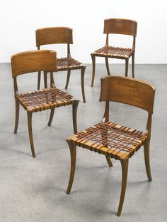 T.H. Robsjohn-Gibbings; Olive Wood and Leather 'Klismos' Chairs for Saridis of Athens, 1960s.