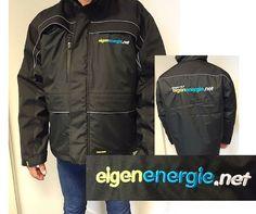 Stoere jas geborduurd met logo van EigenEnergie.net. #Borduring #Werkkleding