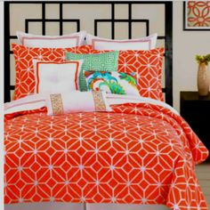 Bright orange is pretty with the pillows tie it all together!