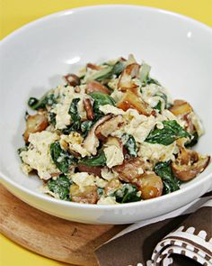 Scramble with Shiitakes, Chard, and Fingerling Potatoes
