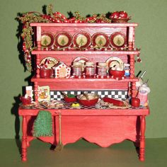 "Doll House Miniature, Christmas, ""French"" Style Kitchen, OOAK | eBay"