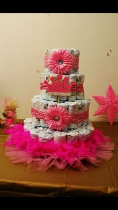 Baby girl princess diaper cake