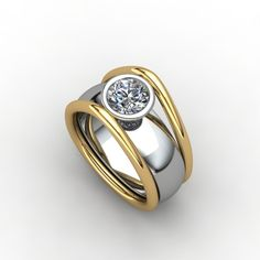 """""""Elevated"""" 18k yellow and white gold ring set with .80ct round diamond"""