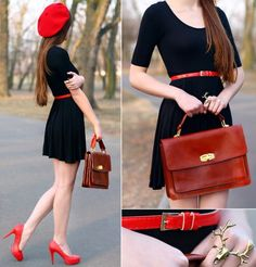 Black dress with red belt. Black Dress Red Heels, Asos Black Dress, Red Shoes, Beret Rouge, Little Dresses, Dresses For Work, Parisienne Chic, Red Belt, Passion For Fashion