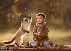 A boy and his cat collect leaves in one of the pictures taken by Ms Shumilova to demonstrate the unique bond between pets and owners. - Elena Shumilova
