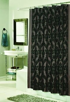 Beau Regal Damask Flocked Velvet Luxury Fabric Shower Curtain Brown U0026 Black   Shower  Curtains