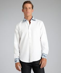 Men's #Fashion #Clothing: Shirts, Tees, and Sweaters: Etro #white textured #blue #paisley pattern cotton button front dress #shirt: Clothes