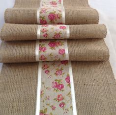 Natural Burlap/hessian and Vintage Ribbon Table Runner Burlap Table Runners, Lace Table, Rustic Table, Decorating Bookshelves, Burlap Crafts, Hessian, Table Toppers, Diy Arts And Crafts, Sewing Projects