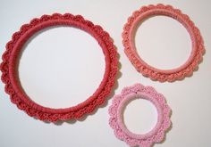 Crochet Embroidery Hoop Pink Set of 3 Shabby by LittlestSister #pcfteam