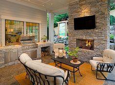 Outdoor Kitchen, Fence, Mediterranean, Modern, Screened Porch