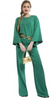pantalón ancho verde para invitada