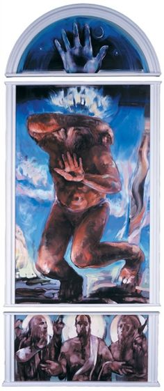 """Bruce Herman (1996) Lanesville Murals. Moses on the Mount</span> 1996, oil on wood, triptych; 136"""" x 60"""", available"""
