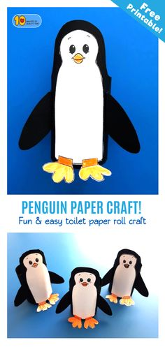 Penguin Toilet Paper Roll Craft Penguin's are the cutest creatures! Today we'll learn how to make them out of toilet paper rolls! Here's what you'll need - 1. Our printable PDF sheet which you can download here - 2. Black stock card 3. A toilet paper roll 4. Glue 5. Scotch tape 6. Scissors Have fun!