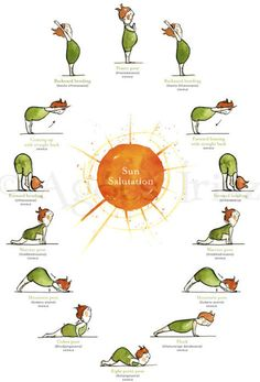 Forward bending, warrior pose, mountain pose, plank - Sun with Yoga Poster. Time to get back into yoga Yoga Inspiration, Fitness Inspiration, Yoga Meditation, Yoga Flow, Vipassana Meditation, Yoga Salutation Au Soleil, Sun Salutation Sequence, Yoga Sun Salutation, Yoga Fitness