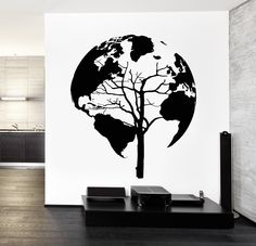 Wall Decal World Map Tree Cool Vinyl Sticker z3248