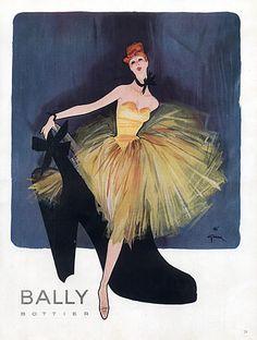 Bally (Shoes), Illustration by René Gruau. Jacques Fath, Mode Vintage Illustration, Illustration Sketches, Ballet Illustration, Pierre Balmain, Marie Claire, Jeanne Lafaurie, Lanvin, Bally Poster