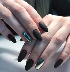 nice 40 Fascinating Ways to Style Black Nails – Topping the Ladder of Elegance Check more at http://newaylook.com/best-ways-to-style-black-nails/