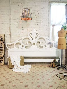 Painted Cottage Chic Shabby White French King Headboard BD401. $395.00, via Etsy.