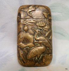 Vtg Antique BRASS Vesta MATCH Safe Holder * Cranes Lotus Blossom Japan Oriental