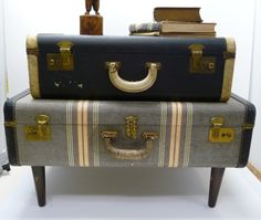 Vintage Suitcase Table Re-Purposed Upcycled luggage night stand, end table Navy and Striped