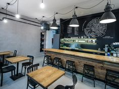 Tables in Industra Café Industrial Coffee Shop, Coffee Places, Cafe Design, Cafe Restaurant, Coffee Cups, Dining Room, Lounge, Ceiling Lights, Table
